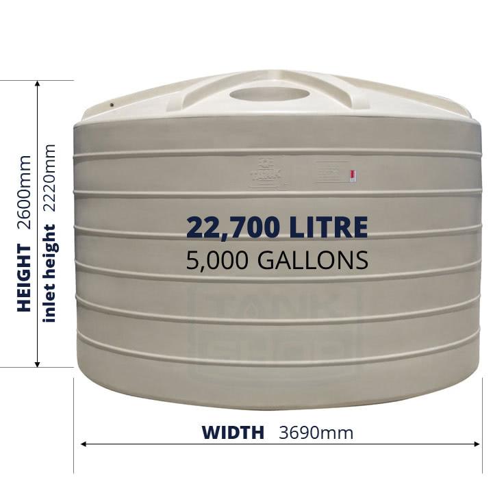 QTank 22700l 5000gal water tank dimensions