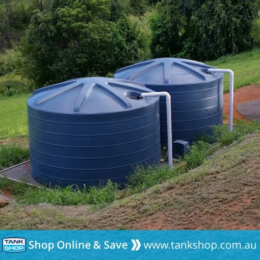 2x QTank 22,700 litre round poly tank (5,000 gallon) installed (Mountain Blue)