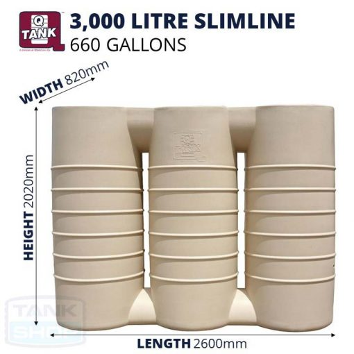 QTank 3000 litre (660 gallons) Slimline Tank Dimensions