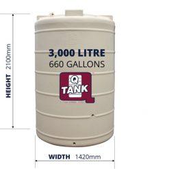 QTank 3000l 660gal water tank dimensions