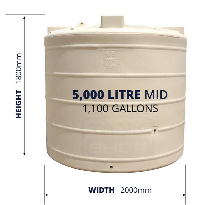 QTank 5000l 1100gal mid water tank dimensions