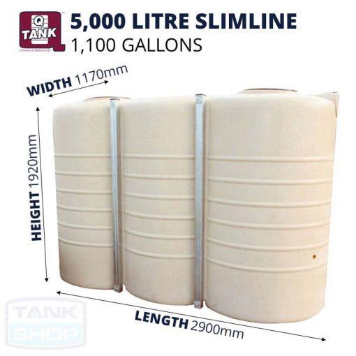 QTank 5000 litre (1100 gallons) Slimline Tank Dimensions