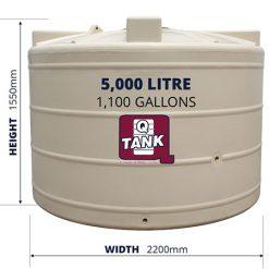QTank 5000l 1100gal squat water tank dimensions