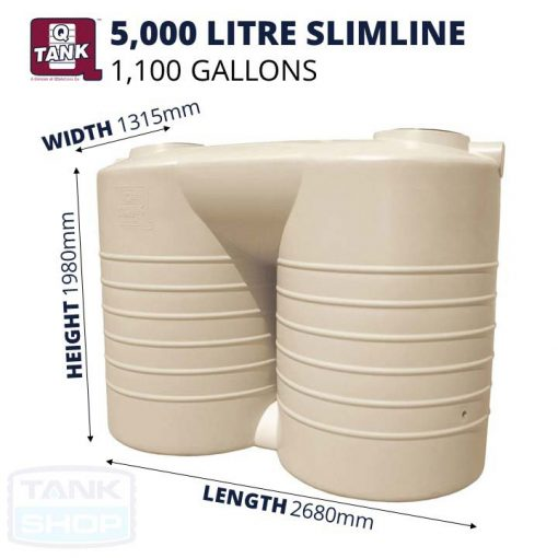QTank 5000 litre (1100 gallons) Slimline Stubby Tank Dimensions