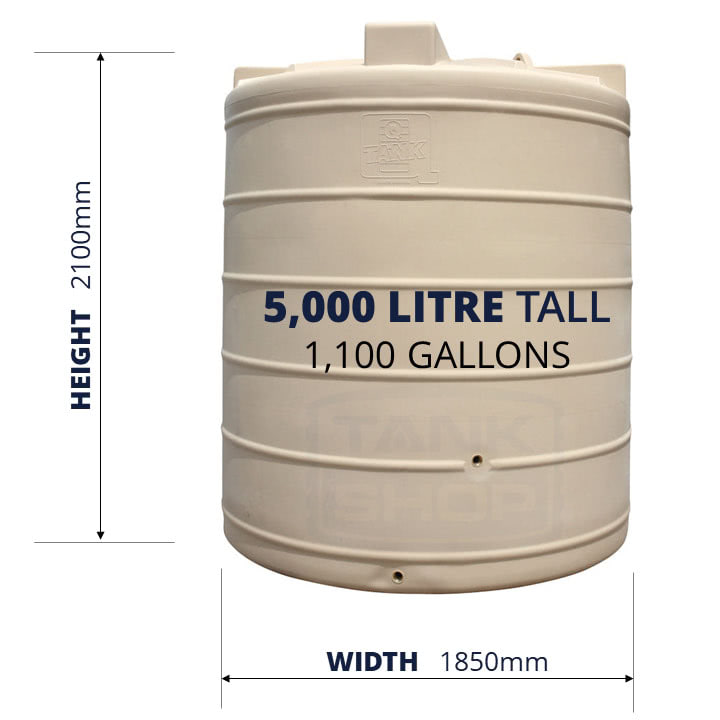 QTank 5000l 1100gal tall water tank dimensions