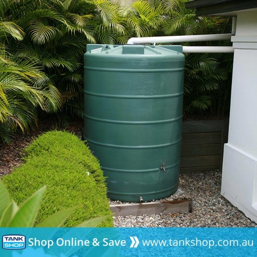 QTank 5,000 litre round tall poly tank installed (Heritage Green)