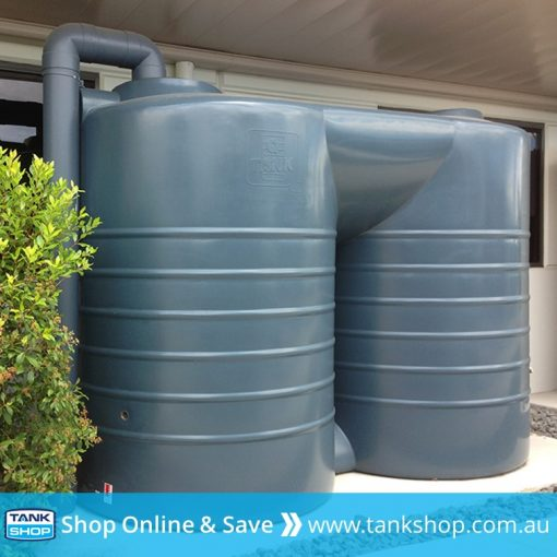 QTank 5,000 litre slimline stubby poly tank installed (Stormedge Blue)