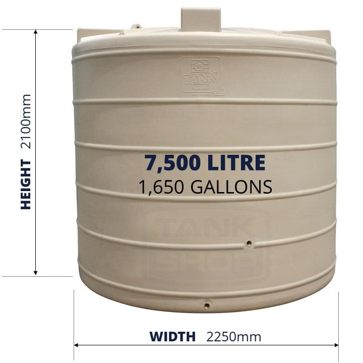 QTank 7500l 1650gal water tank dimensions