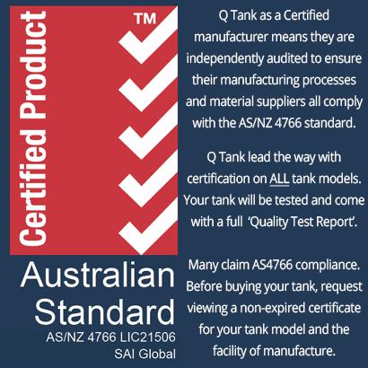 Australian Standards (AS/NZ 4766) Certified