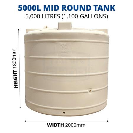 5000L Mid Round Poly Tank (QTank)