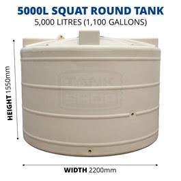 5000L Squat Round Poly Tank (QTank)