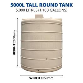 5000L Tall Round Poly Tank (QTank)