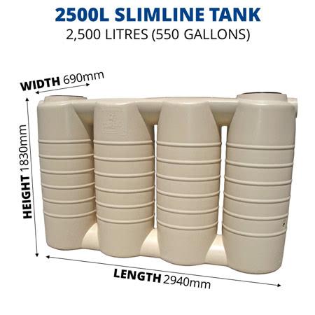 2500L Slimline Poly Tank (QTank)