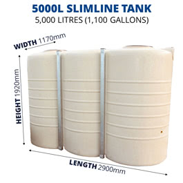 5000L Slimline Poly Tank (QTank)