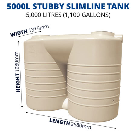 5000L Stubby Slimline Poly Tank (QTank)