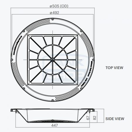 Rain Harvesting 500mm Tank Screen dimensions