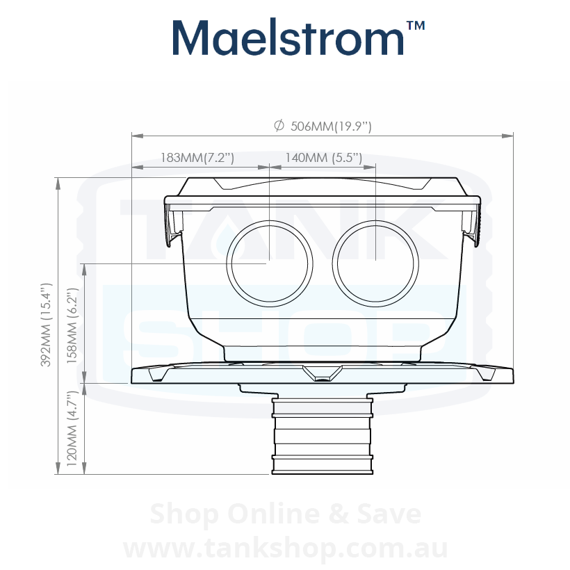 Rain Harvesting Maelstrom Filter Dimentions - Front