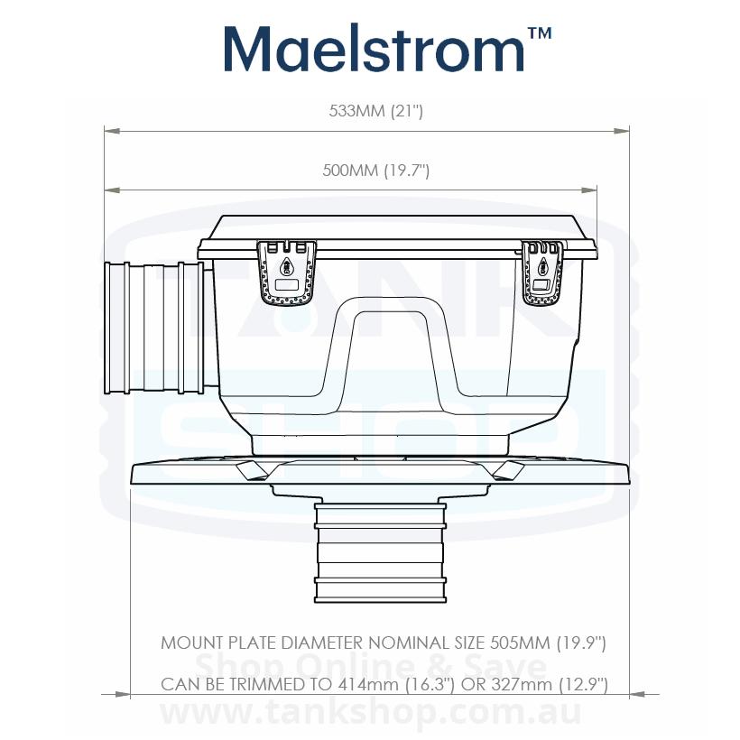 Rain Harvesting Maelstrom Filter Dimentions - Side