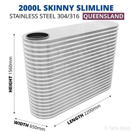 """2000 Litre """"Skinny"""" Slimline Tank Stainless Steel"""