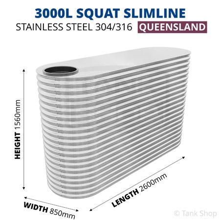 "3000L ""Squat"" Slimline Tank Stainless Steel"