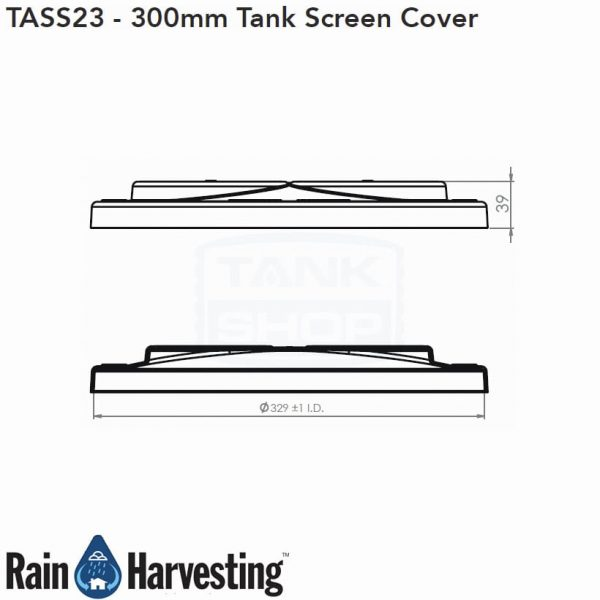 Tank Screen Cover 300mm Dimensions - Side View