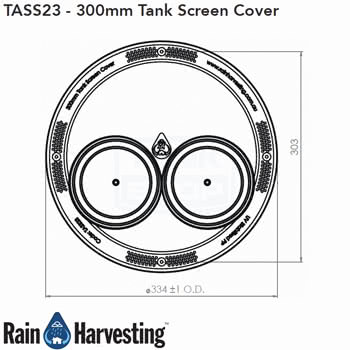Tank Screen Cover 300mm Dimensions - Top View