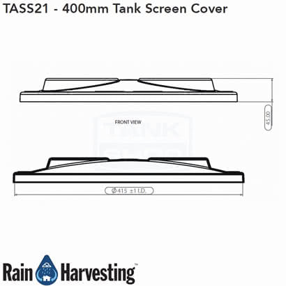 Tank Screen Cover 400mm Dimensions - Side View