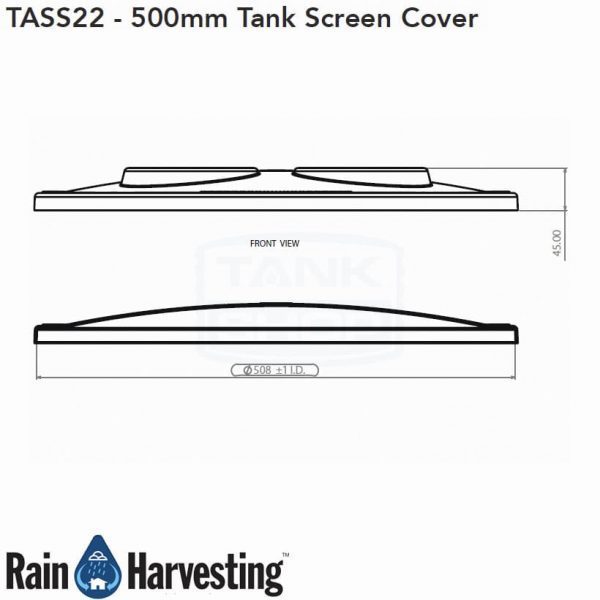 Tank Screen Cover 500mm Dimensions - Side View