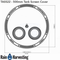 Tank Screen Cover 500mm Dimensions - Top View